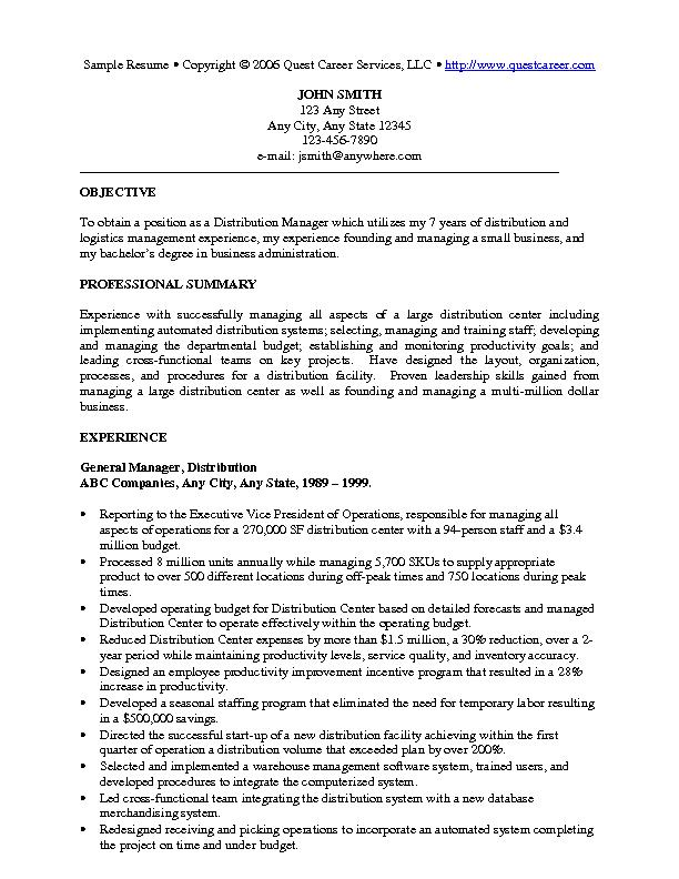 Sample Resume Example   Executive Resume Or Management Resume