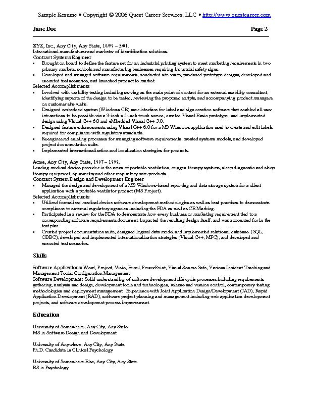 Exceptional Sample Resume 2 B