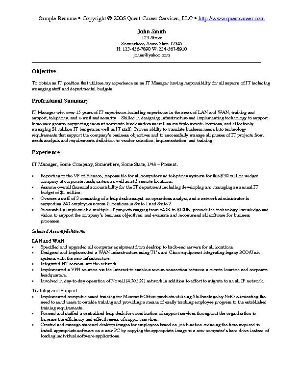 cio sample resume by executive resume writer it resume sample it resumes samples
