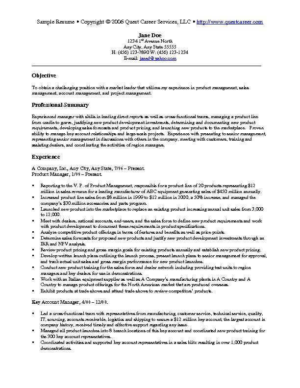 sle resume exle 4 sales and marketing resume
