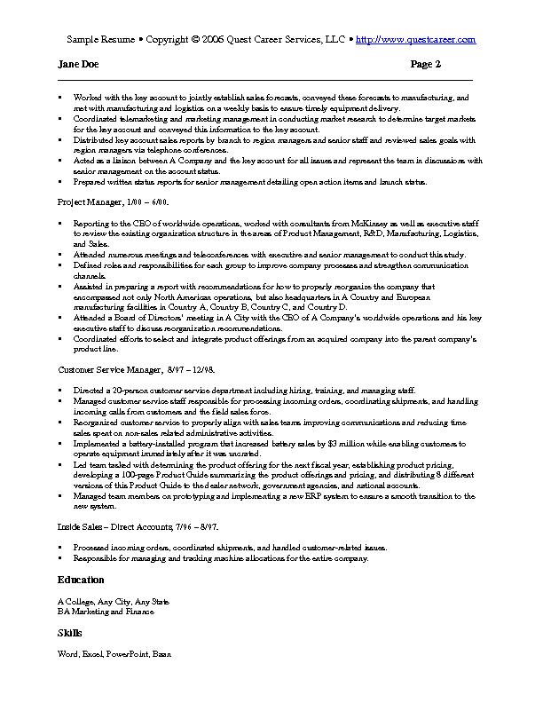 Sample Resume 4 B  Marketing Sample Resume