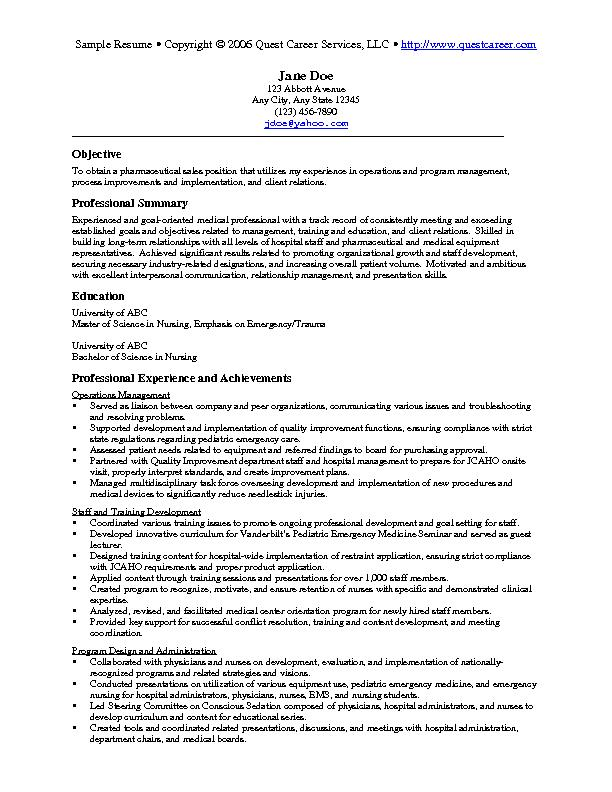 Sample Resume Example   Pharmaceutical Sales Resume