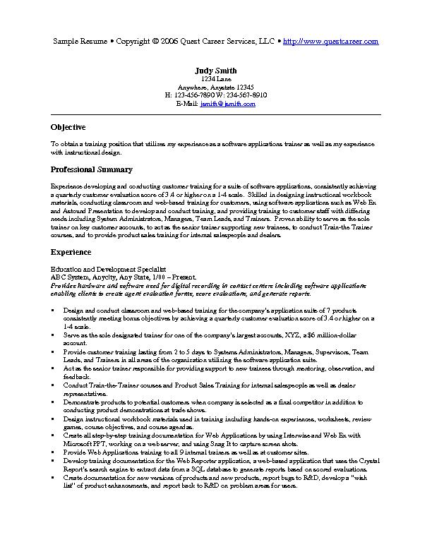 Lovely Training Resume Sample On Training On Resume