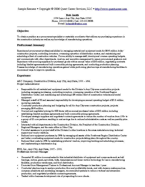 sample resume 8 a - Procurement Resume Sample