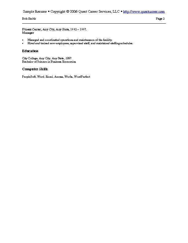 sample resume 8 b