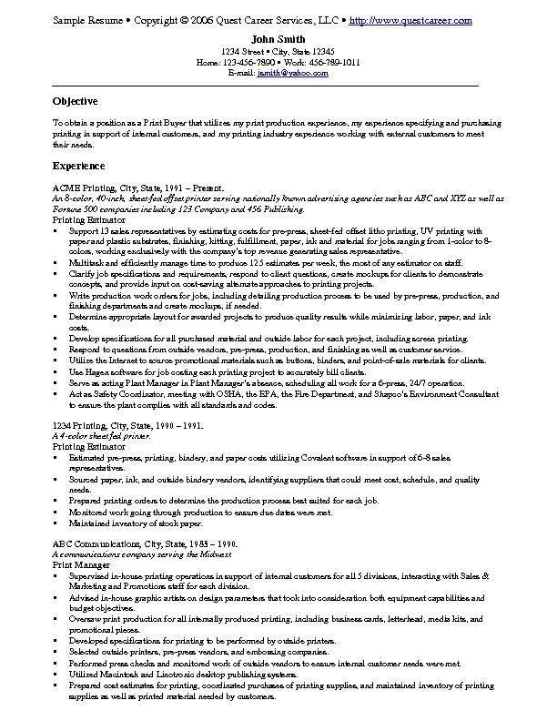 sample resume example 9 print buyer resume example or printing estimator sample resume