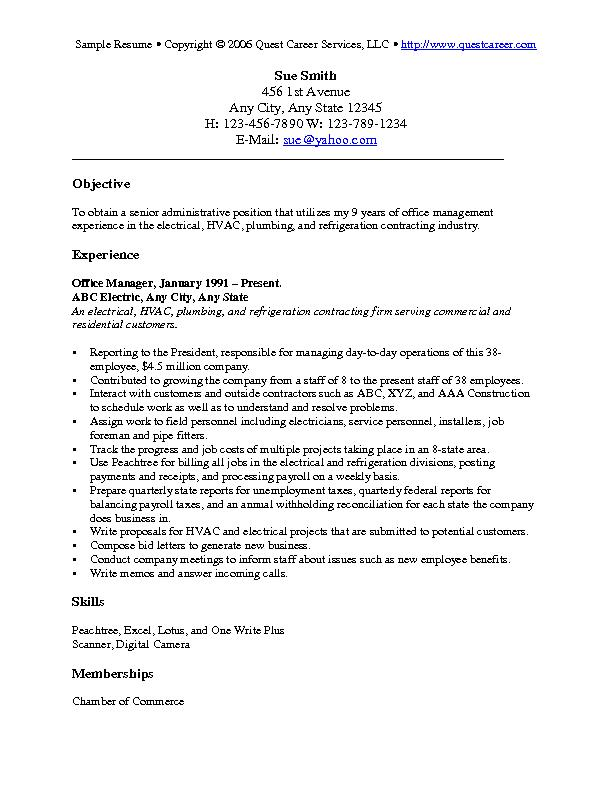 Sample Resume Example 6 - Administrative Resume